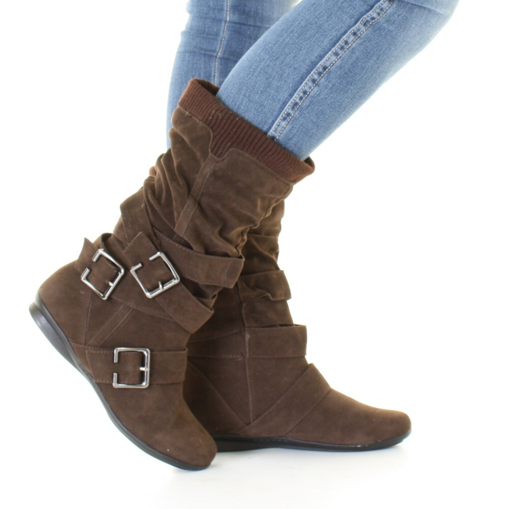womens brown suede style slouch buckle knitted cuff wide calf boots size 3 8 ebay. Black Bedroom Furniture Sets. Home Design Ideas
