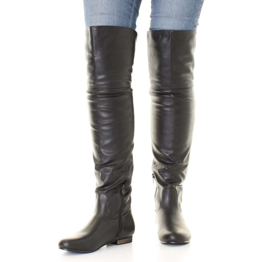 Women Black Leather Style Flat Over Knee Thigh High Pirate Cuff ...