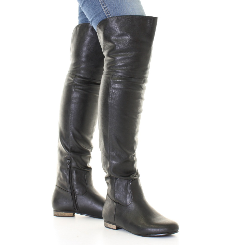 black leather style flat knee thigh high pirate