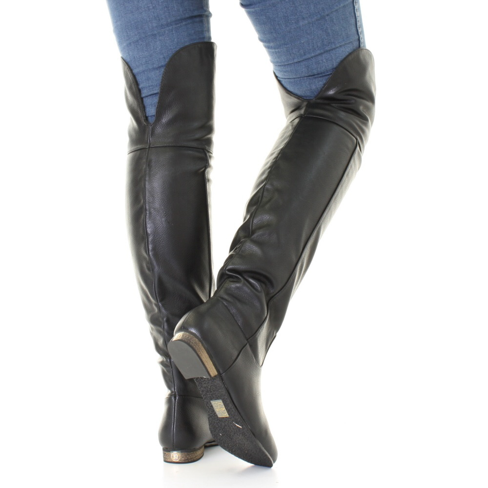 Womens Black Leather Style Flat Over Knee Thigh High