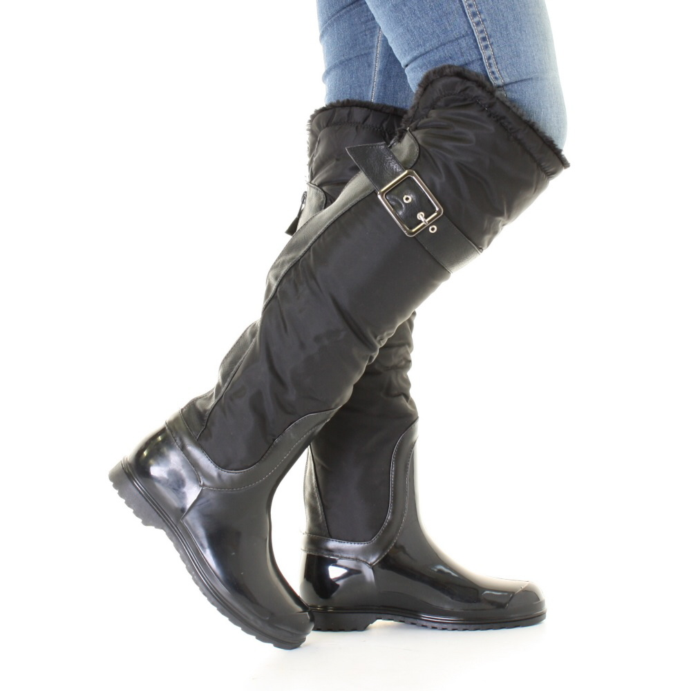 new womens knee fur lined black wellington boots