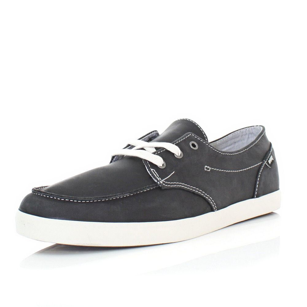 mens reef black deck 2 leather casual deck boat shoes