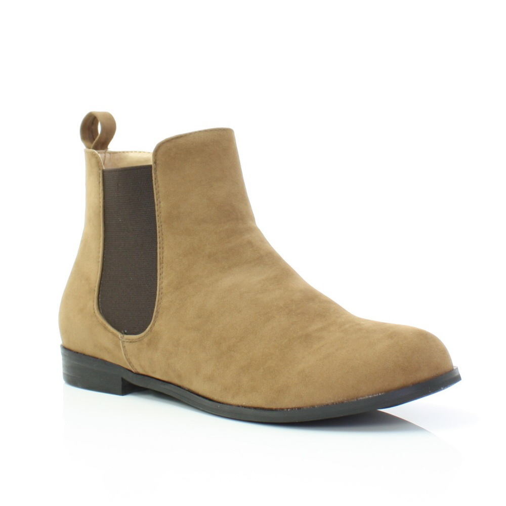 womens taupe brown pull on chelsea suede style flat