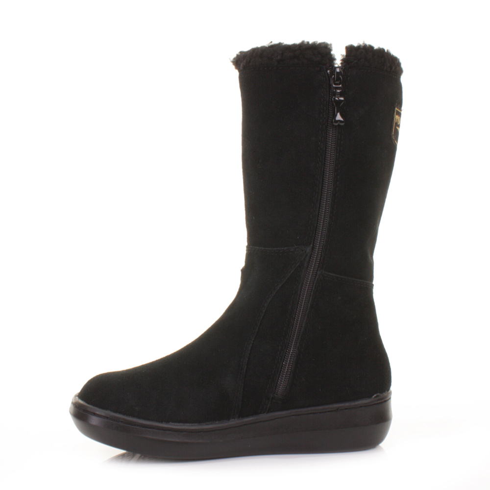 WOMENS ROCKET DOG BLACK SLOPE SUEDE FLEECE LINED FLAT WINTER BOOTS ...