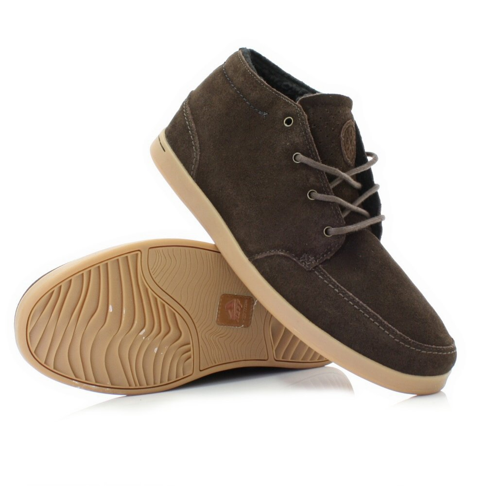 mens reef spiniker mid brown suede leather lace up casual
