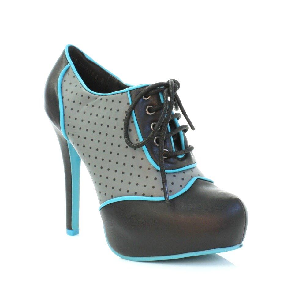 womens tuk shoes lace up black grey blue heeled