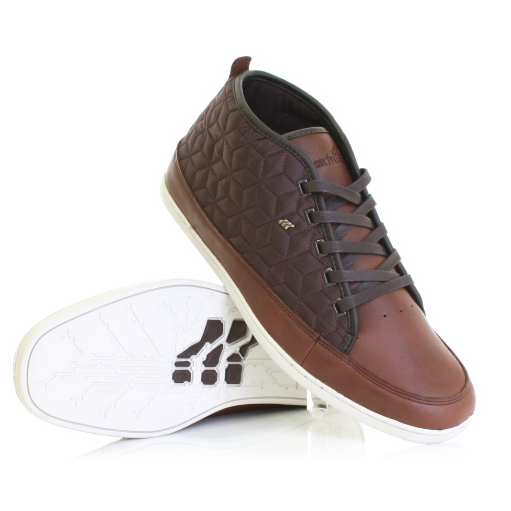 mens shoes boxfresh chip brown leather quilted ankle boots