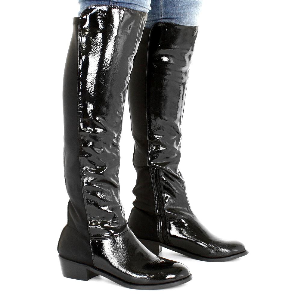 womens black stretch wider wide fit calf
