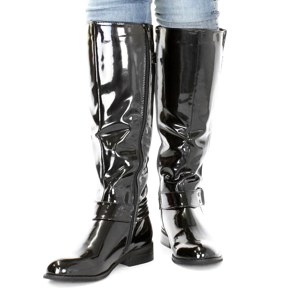 lack stiefel schwarz flach
