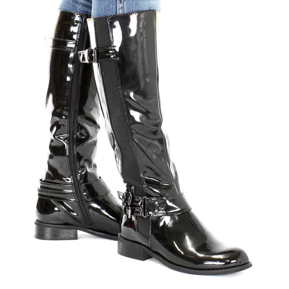 LADIES BLACK PATENT FLAT RIDING CASUAL BUCKLE KNEE HIGH BOOTS SIZE ...