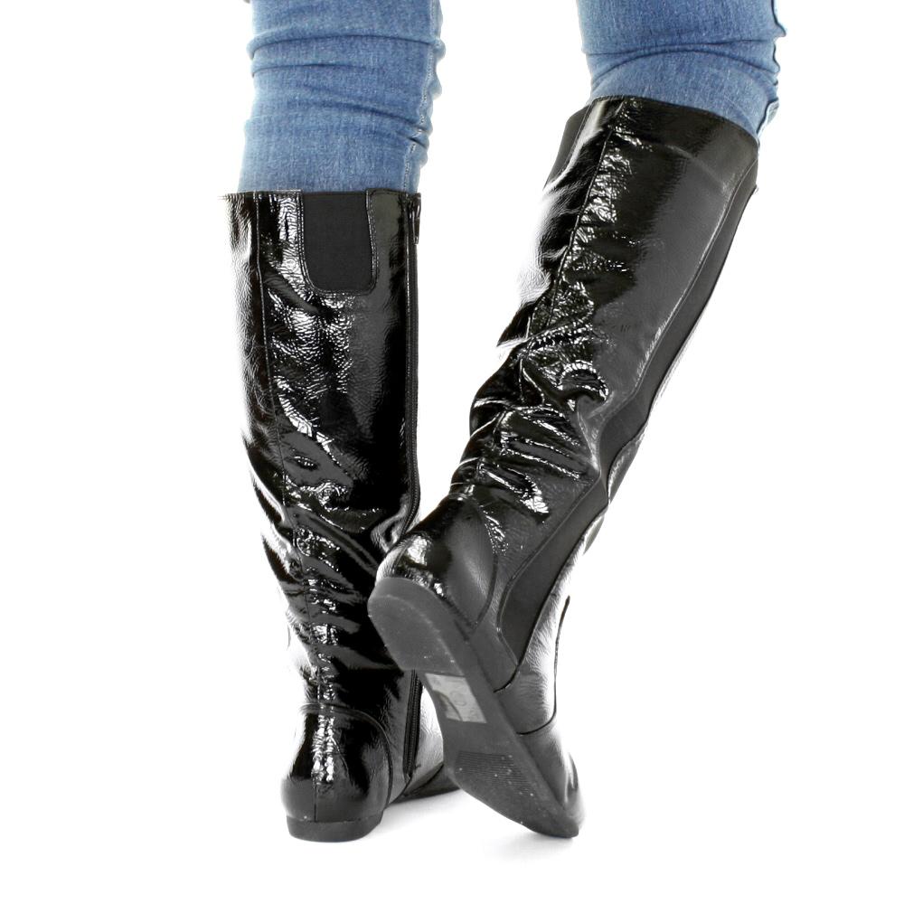botte cavali re femme plate noir haute genou chelsea extensible mollet 36 41 ebay. Black Bedroom Furniture Sets. Home Design Ideas