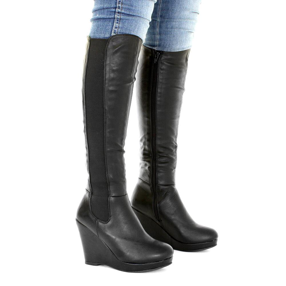 womens platform wedge leather style knee high boots
