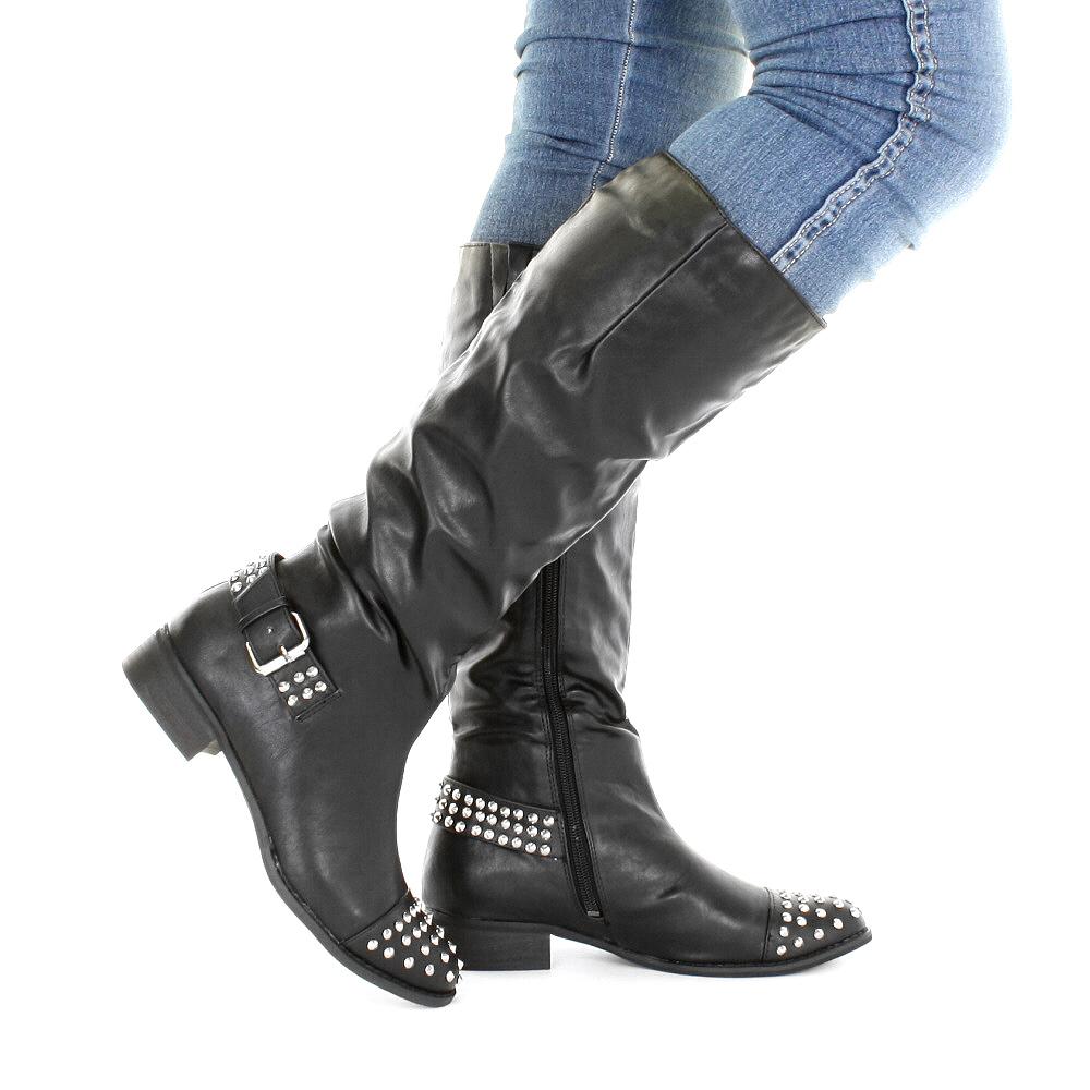 womens shoes black stud studded knee high flat