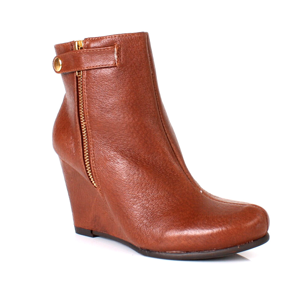 womens laundry brown leather wedge heel