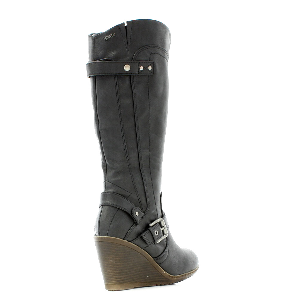 womens xti wedge heel black leather knee high biker style