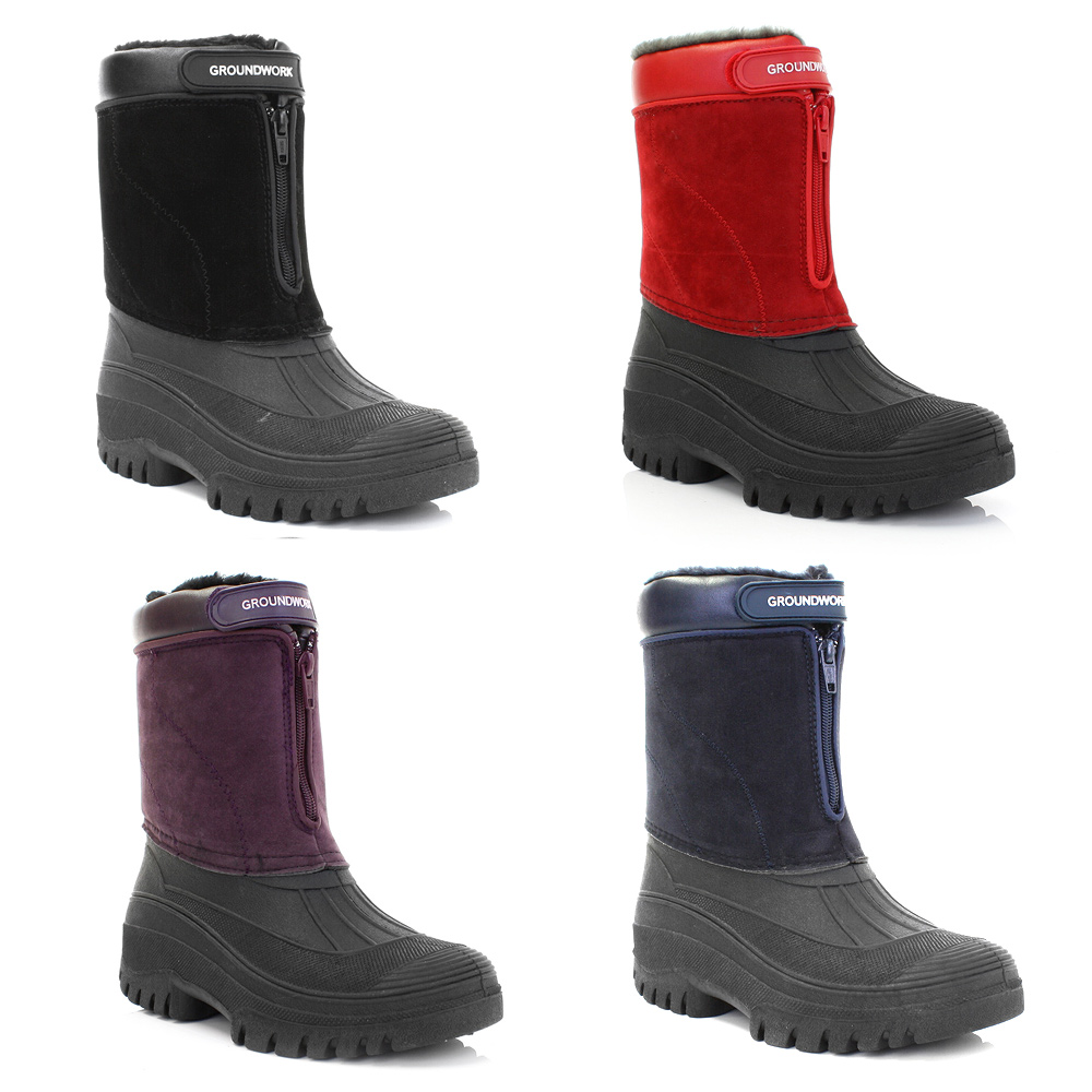 Model  LS89nub Womens Red Nubuck Style Velcro Winter Stable Yard Boots  EBay