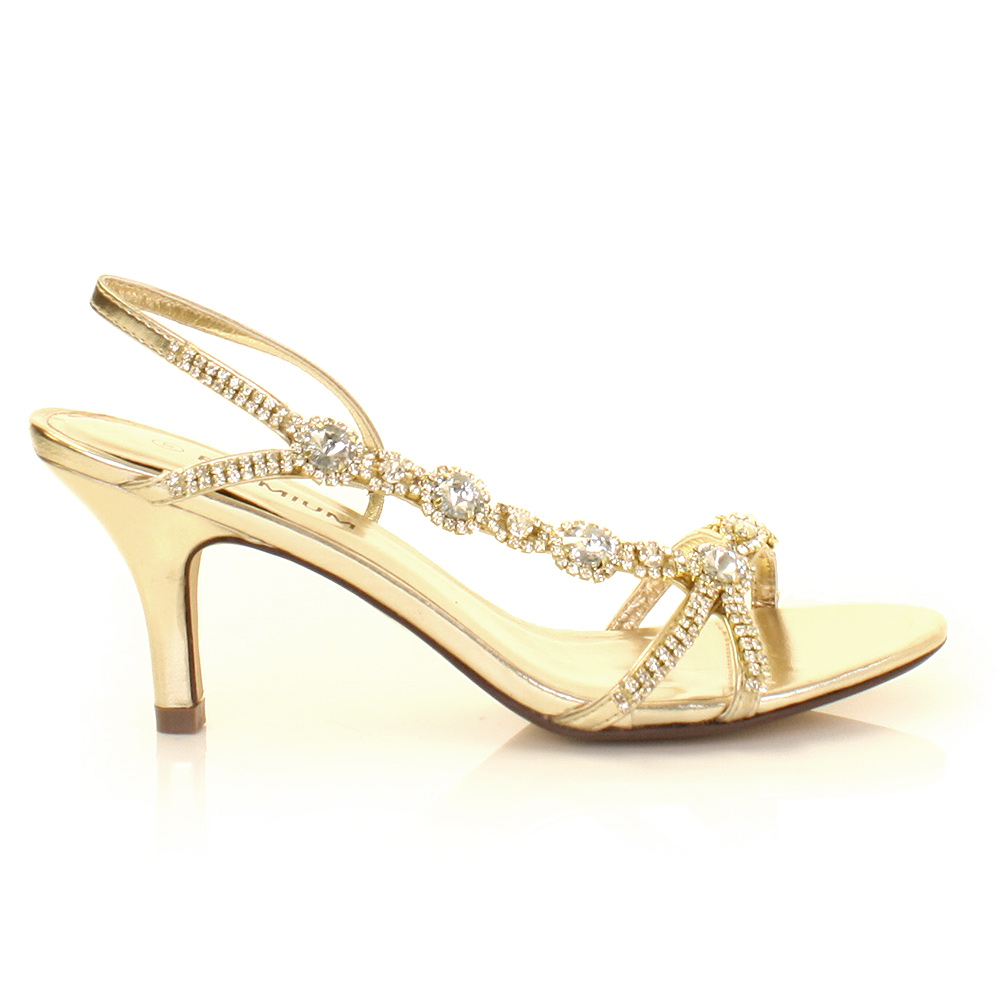 Gold Mid Heels - Is Heel