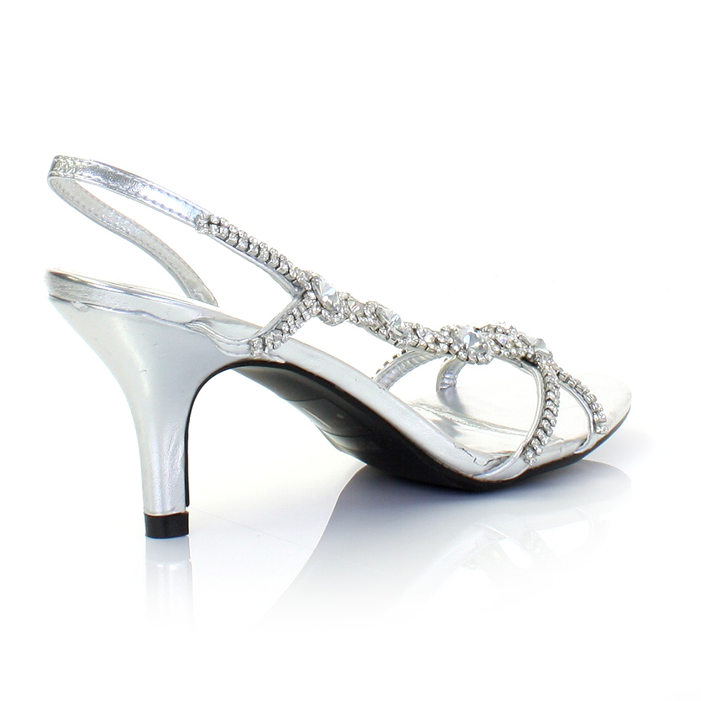 Ladies Low Mid Gold Silver Diamante Kitten Heel Party Shoes ...