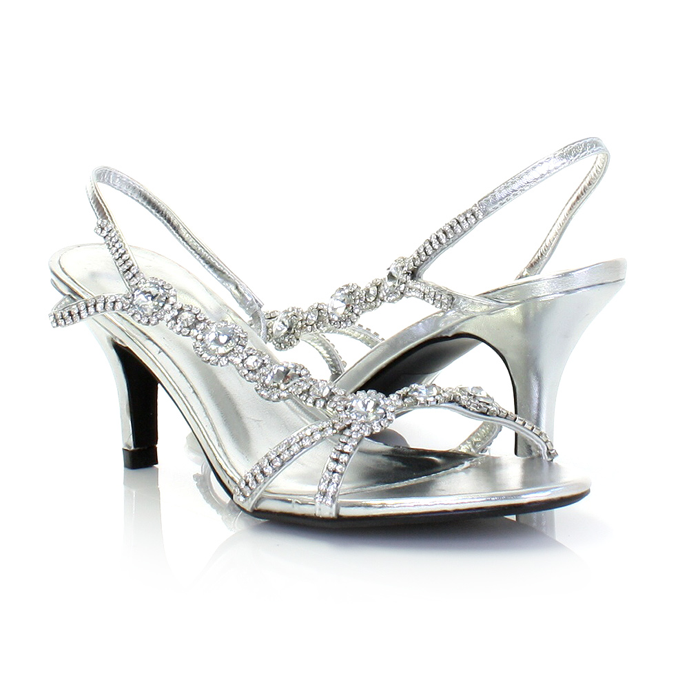 sandals for women low mid gold silver diamante kitten heel party shoes size 5 10 ebay. Black Bedroom Furniture Sets. Home Design Ideas