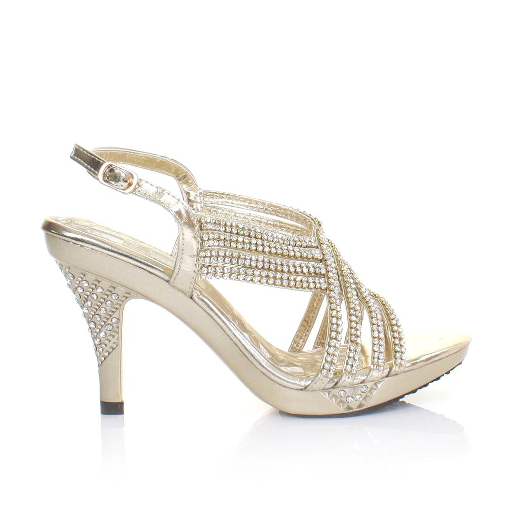 womens strappy diamante mid heel platform