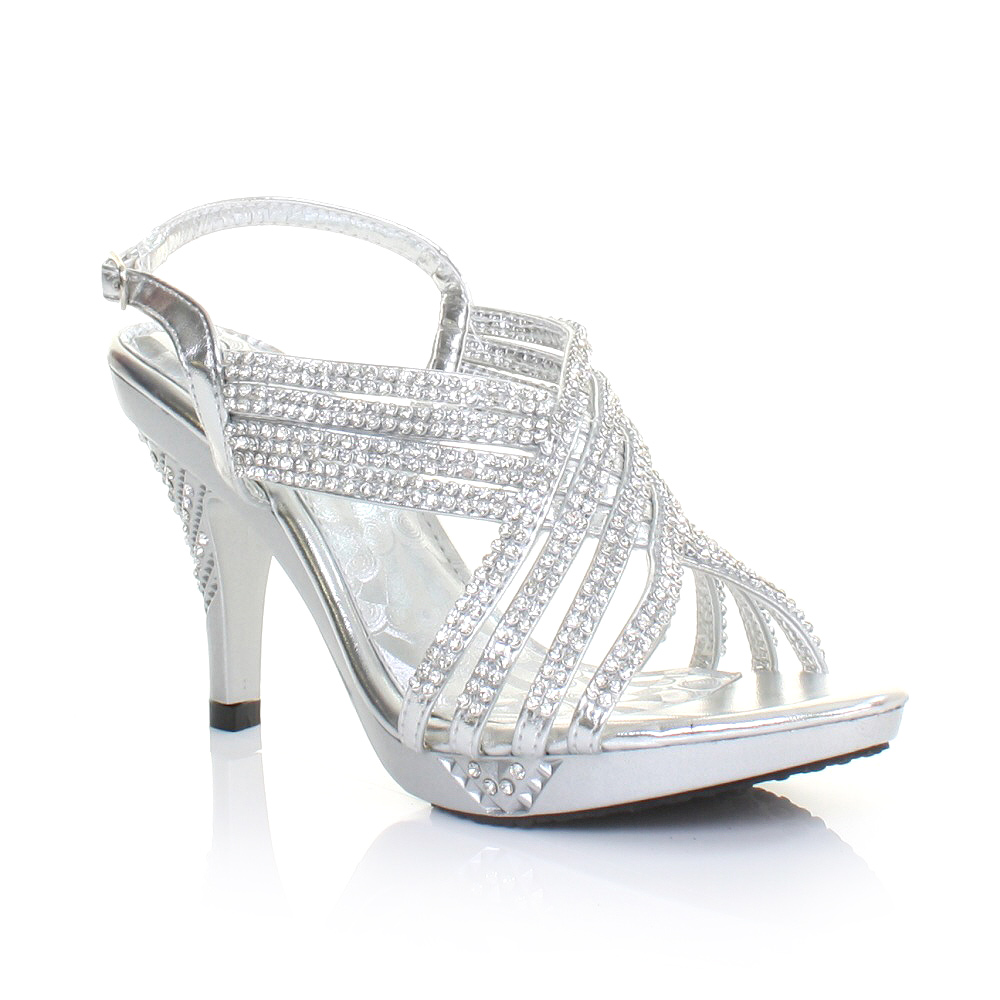 Silver Shoes Medium Heel