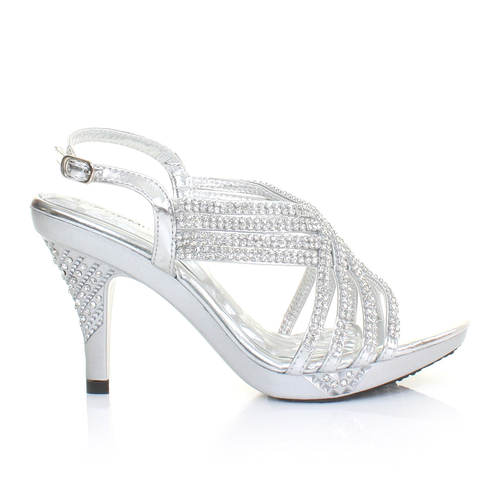 Silver Medium Heel Shoes