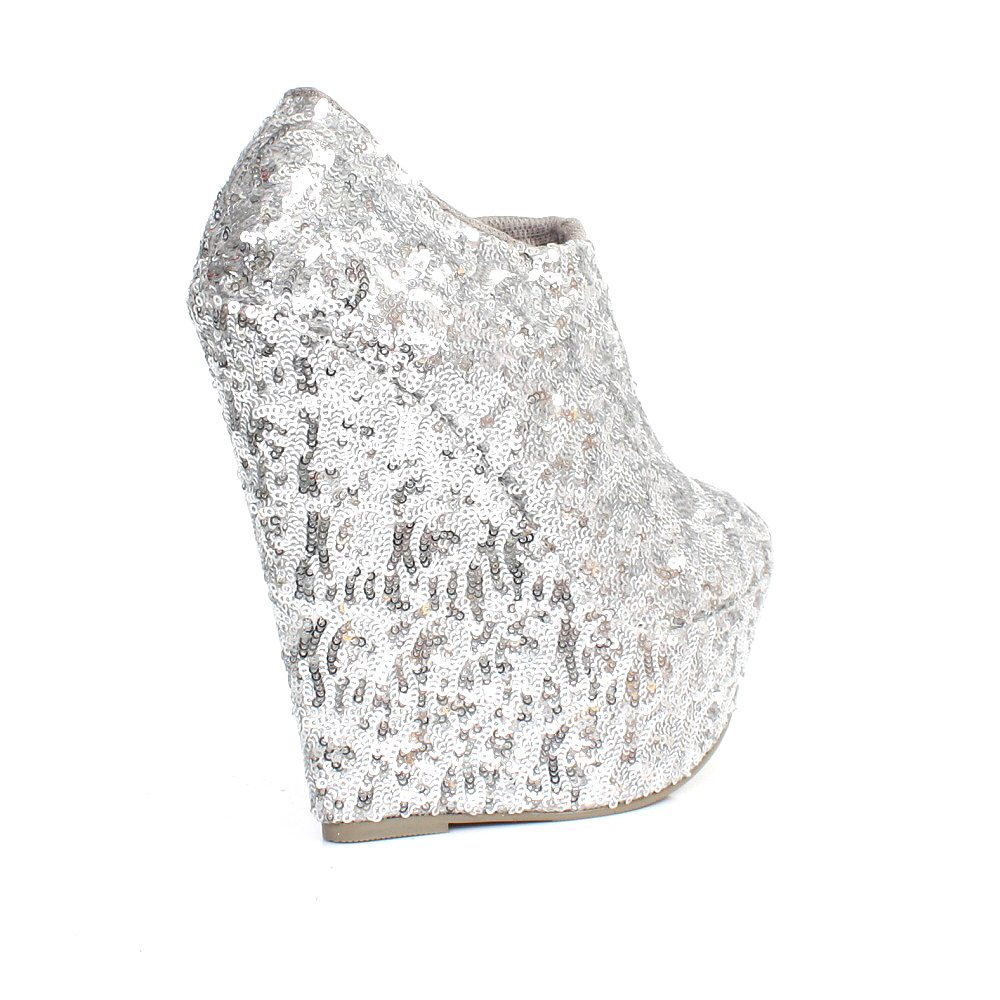 womens silver sequin platform wedge ankle boots