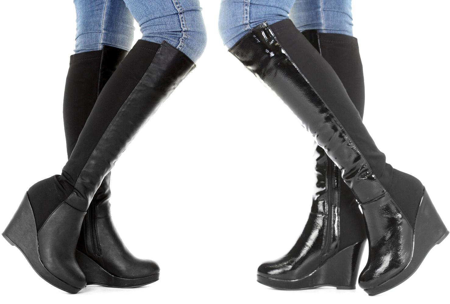 Schnür stiefel Damen Kniehoch Lang Keilabsatz Winter Stiefel