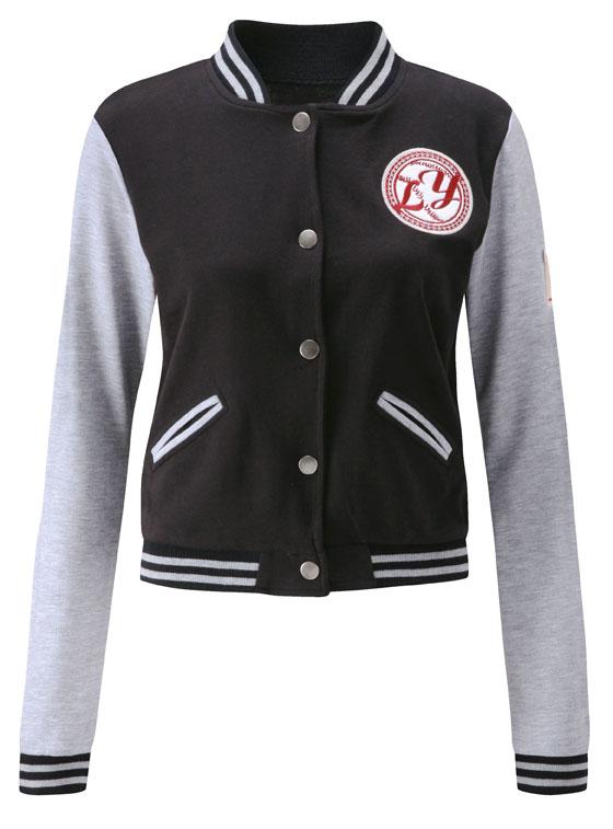Ladies Baseball Jacket in Dark Grey Black Light Grey