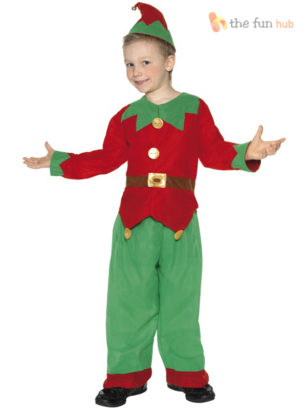 Kids Elf Costume Santa Little Helper Children Christmas