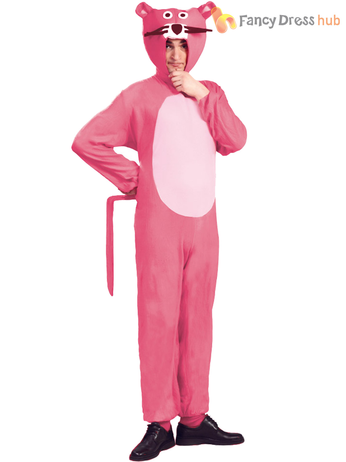Adult Pink Panther Costume Mens Ladies TV Cartoon Fancy Dress 60s ...