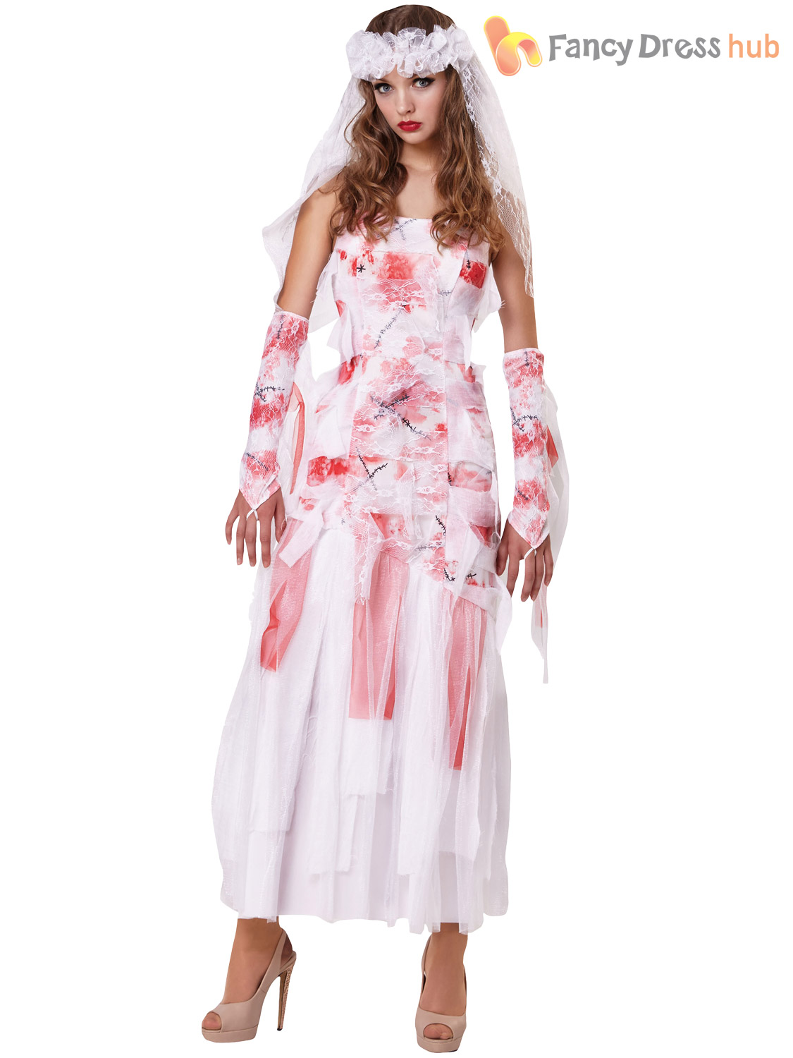 Ladies Grave Bride Costume Womens Zombie Dead Halloween Fancy Dress ...