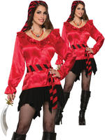 Ladies Red Pirate Blouse