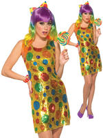 Ladies Sequin Clown Costume