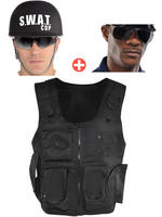 Adult's Swat Vest, Helmet & Glasses