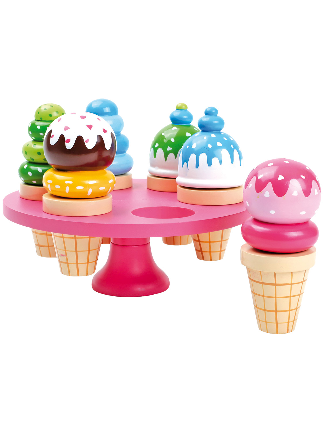 Wooden ice cream toy food role play kitchen teddy bear