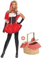 Ladies Red & Black Riding Hood Costume & Basket
