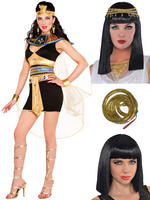 Ladies Cleopatra Costume, Wig & Armband