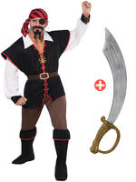 Mens Rebel of the Sea Costume & Cutlass