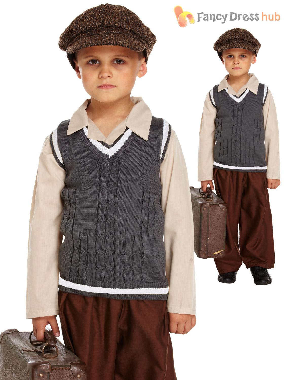 1940s Day Wear: Evacuee Boy Fancy Dress WW2 1940s Child Kids Boys World