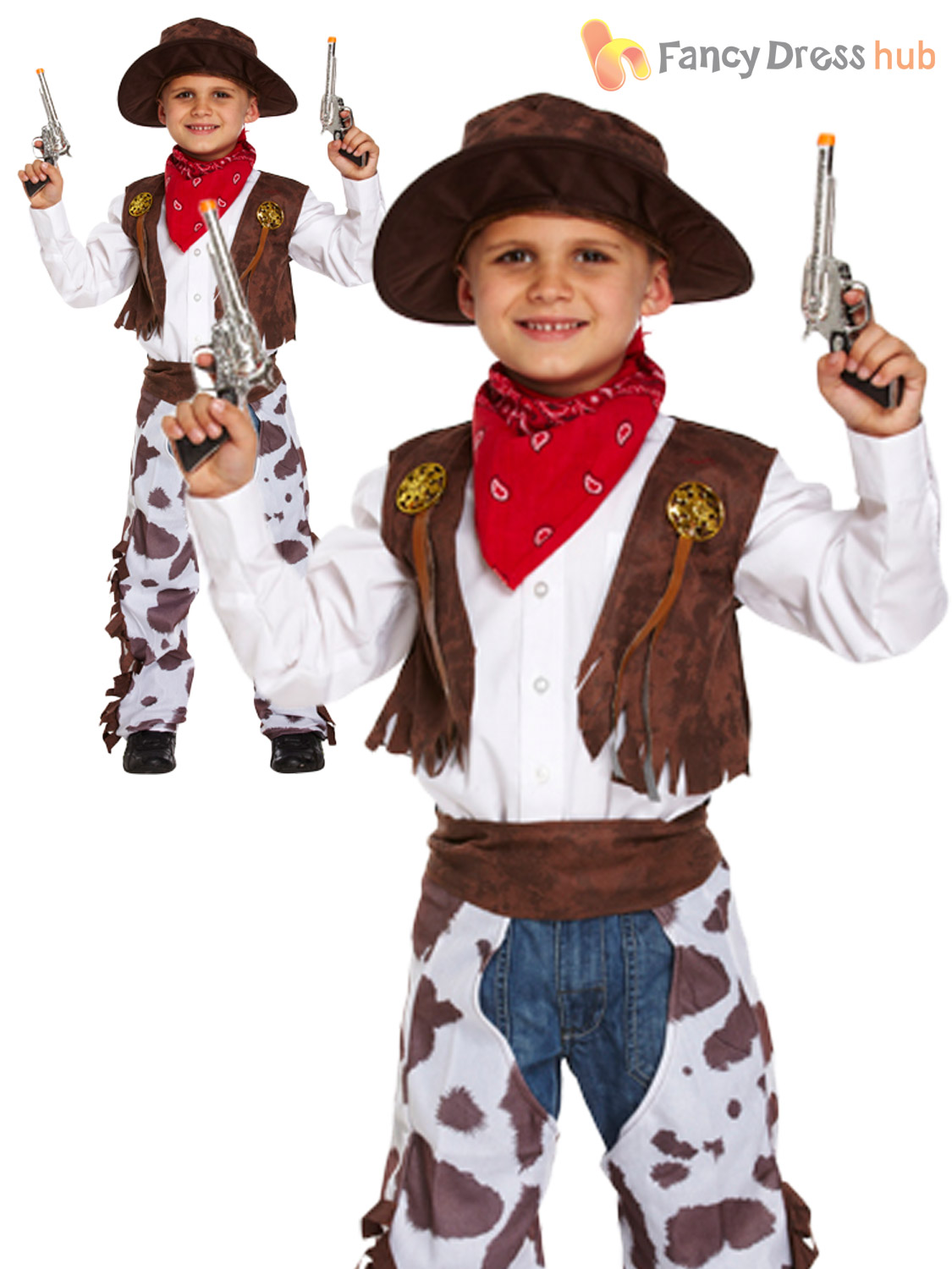 Boys-Kids-Cowboy-Outfit-Fancy-Dress-Costume-Rodeo-  sc 1 st  eBay & Boys Kids Cowboy Outfit Fancy Dress Costume Rodeo Wild West Age 3 4 ...