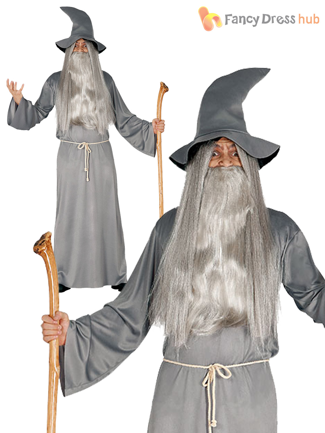 Adult Wizard Costume Mens Magician Halloween Fancy Dress Costume ...
