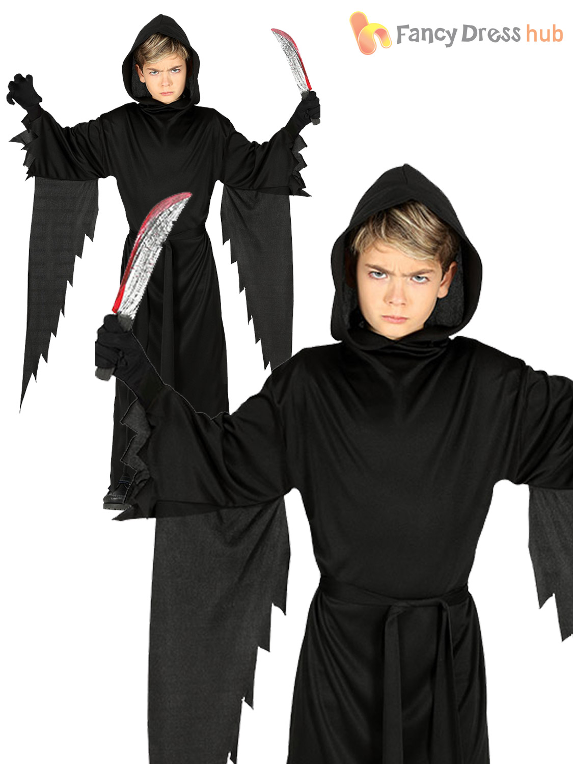 Boys Grim Reaper Costume Halloween Hooded Robe Kids Fancy Dress Party Outfit