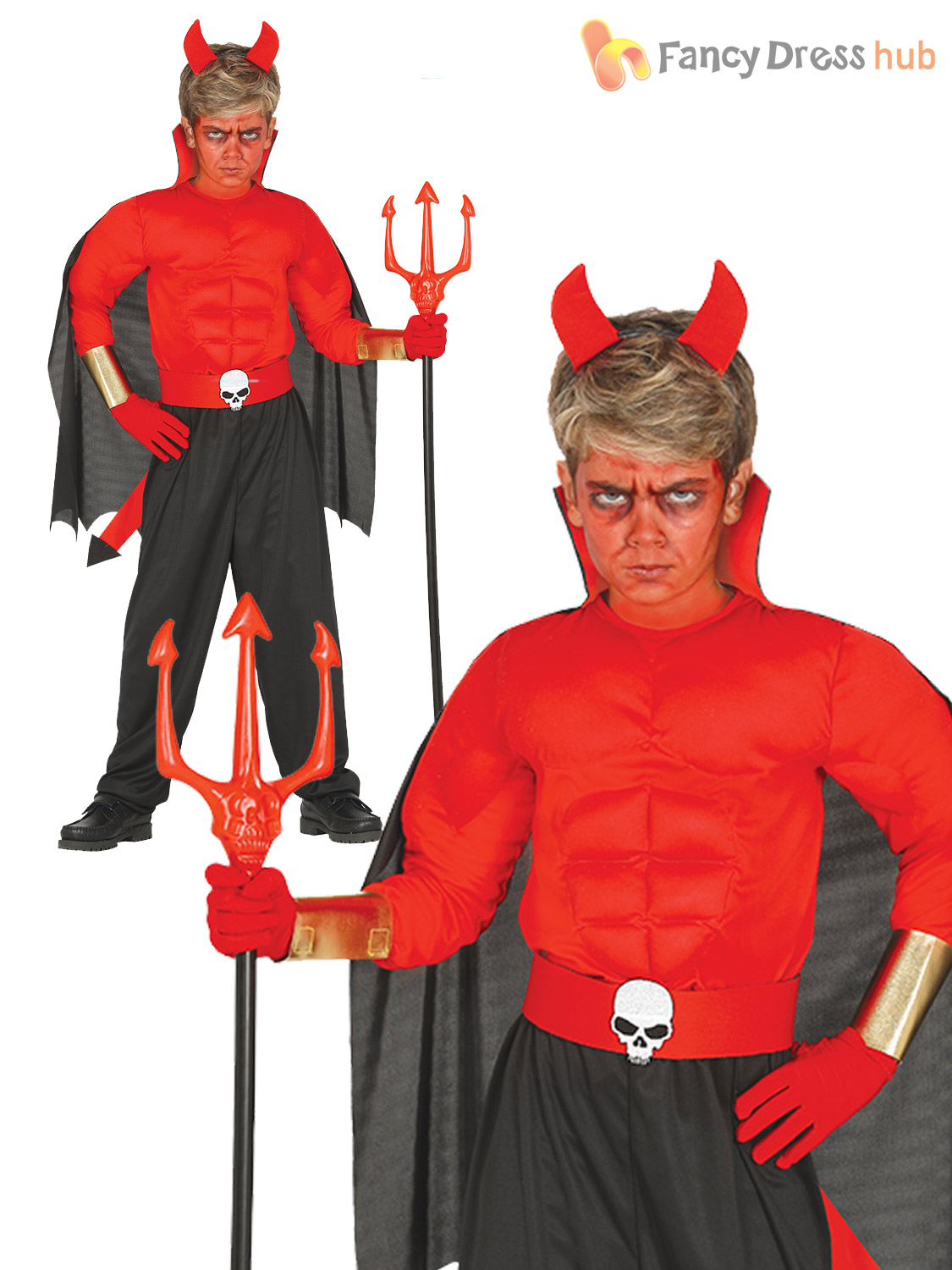 Boys Muscle Red Devil Costume Childs Kids Halloween Hell Fancy Dress Outfit