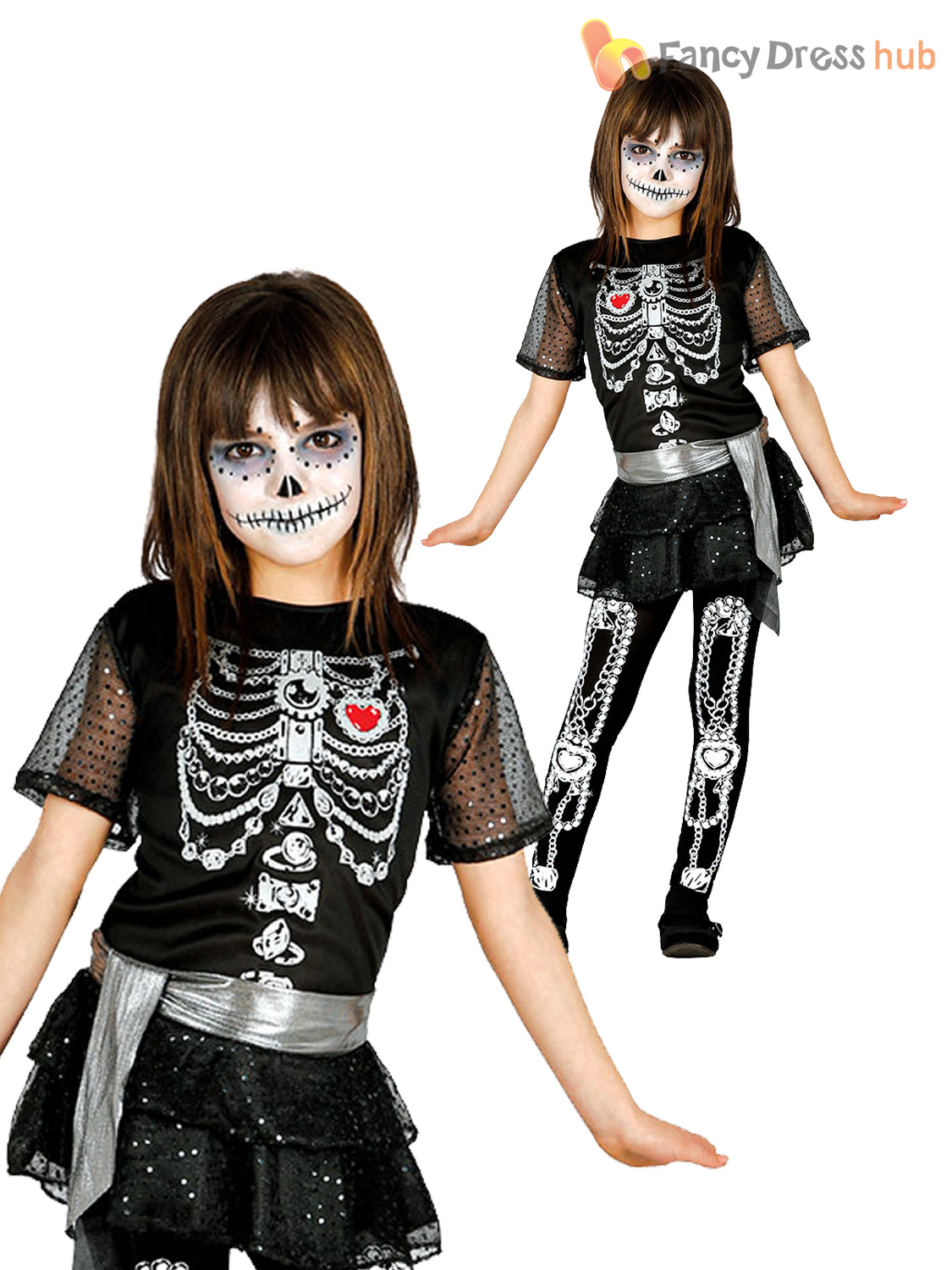 Girls Glittery Skeleton Costume Day Of The Dead Halloween Fancy Dress Outfit