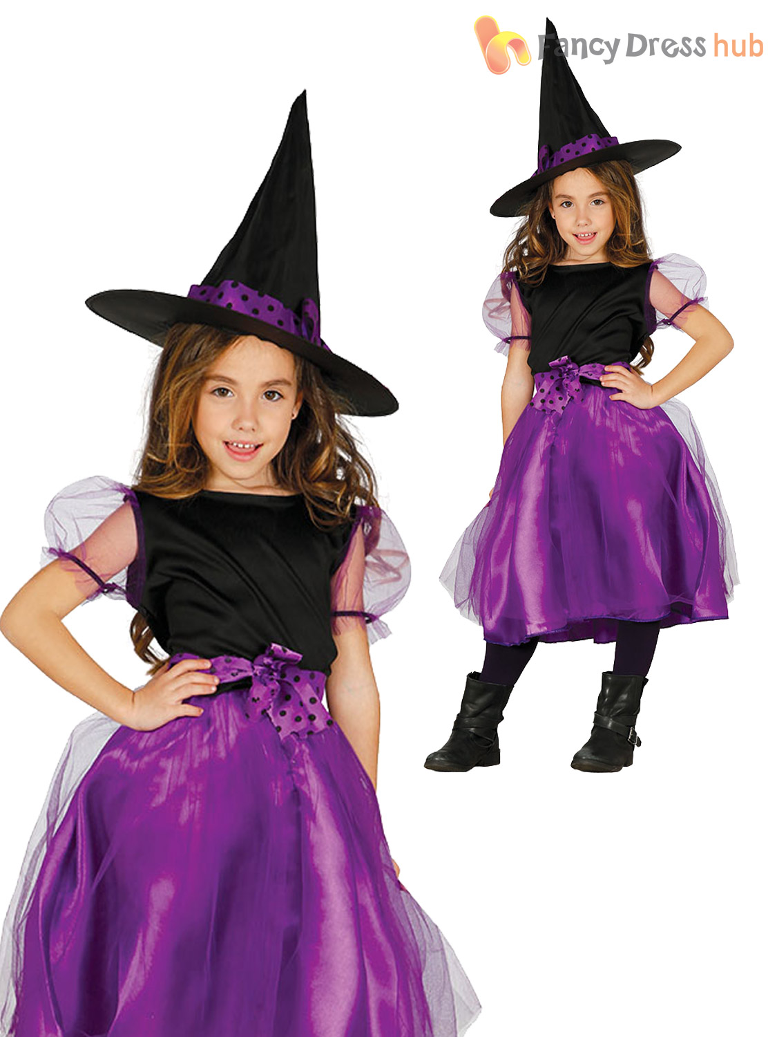 Girls Purple Witch Costume Childs Halloween Wicked Fancy Dress Outfit Scary Kids
