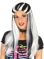 Ladies Black & White Streaked Witch Wig