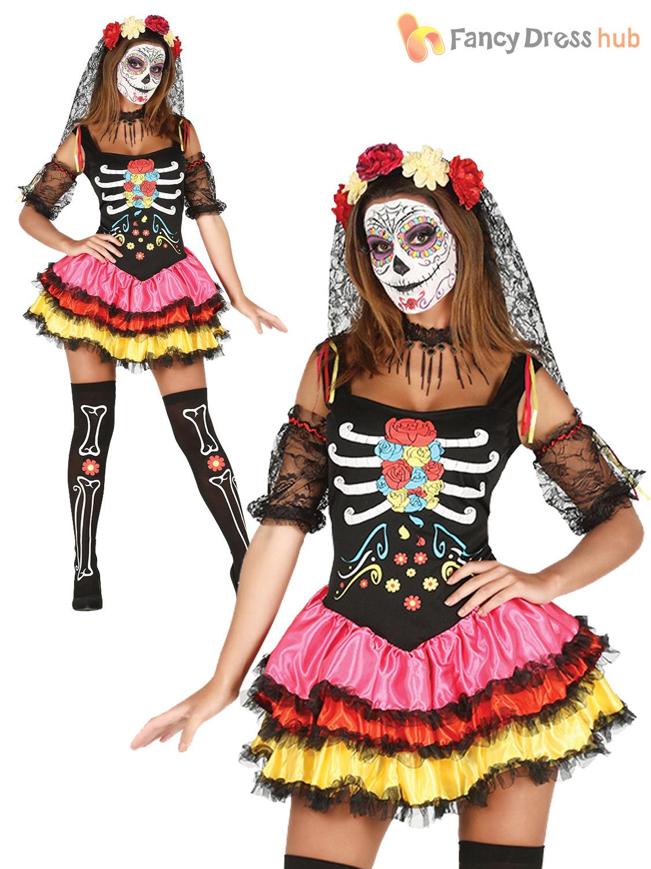 Ladies Day Of The Dead Senorita Catrina Costume Halloween Fancy Dress Outfit
