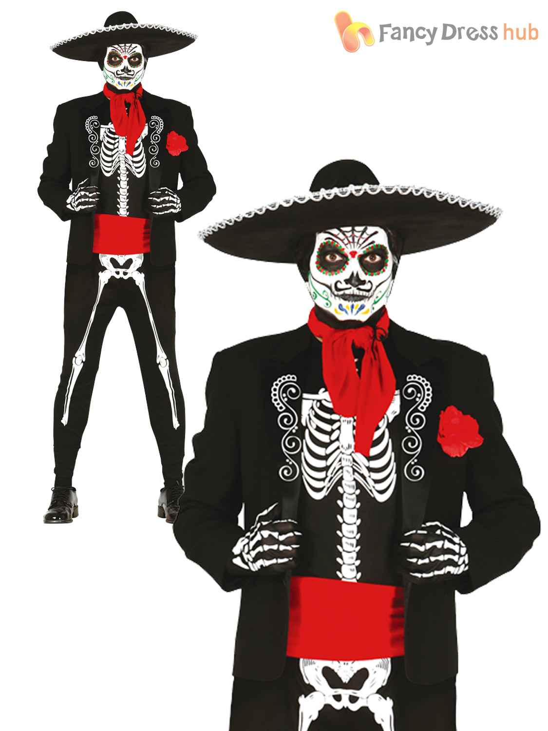 Mens Day Of The Dead Skeleton Costume Halloween Mens Mexican Fancy Dress Outfit