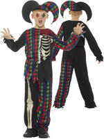 Boy's Skeleton Jester Costume